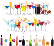 Set of different alcoholic drinks and cocktails. Beer,martini,soda,champagne,whiskey,wine,cola,cocktail stock photos