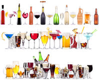 Set of different alcoholic drinks and cocktails Royalty Free Stock Photo