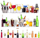 Set of different alcoholic drinks and cocktails. Beer, martini, soda, champagne, whiskey, wine, cola, cocktail royalty free stock image