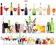 Set of different alcoholic drinks and cocktails stock photography