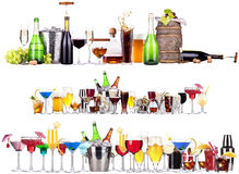 Set of different alcoholic drinks and cocktails. Beer,martini,soda,champagne,whiskey,wine,cola,cocktail royalty free stock image