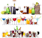 Set of different alcoholic drinks and cocktails. Beer,martini,soda,champagne,whiskey,wine,cola,cocktail Royalty Free Stock Images
