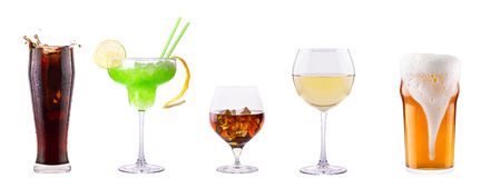 Set of different alcoholic drinks and cocktails. Soda,cocktail,whiskey,wine,beer Royalty Free Stock Photos