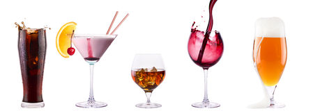 Set of different alcoholic drinks and cocktails stock photo
