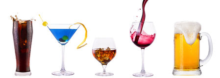 Set of different alcoholic drinks and cocktails. Soda,cocktail,whiskey,wine,beer royalty free stock image