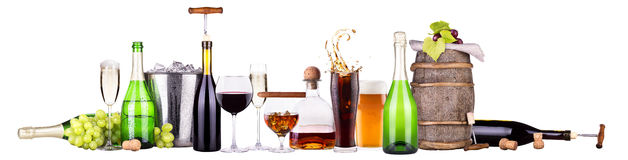 Set of different alcoholic drinks and food Stock Photos