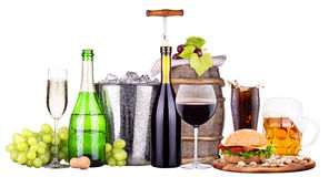 Set of different alcoholic drinks and food. Beer, martini, grapes, burger, champagne, whiskey, wine, cola, cocktail stock photos
