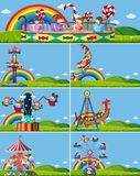 Set of different amusement rides stock illustration