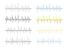 Set of different analog and digital signal waves graphs on white Royalty Free Stock Photo