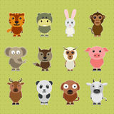 Set of different animal cartoon characters. Stock Image