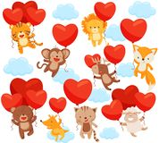 Set of cute animals flying in the sky with heart-shaped balloons. Love theme. Flat vector elements for postcard stock illustration
