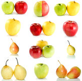 Set of different apples and pears. Isolated on the white background Royalty Free Stock Photos