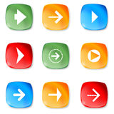 Set of different arrows on glass buttons. Royalty Free Stock Images