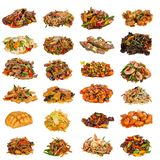 Set of a different asian dishes in restaurant Royalty Free Stock Image