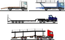 Set of different auto transporters isolated on white background in flat style. Vector illustration. Royalty Free Stock Photo