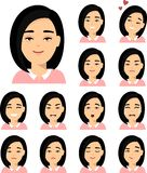 Set of different avatar asian woman in colorful flat style. royalty free illustration