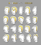 Set of 20 different avatar men characters. Face Boy. Funny characters. Cartoon vector isolated characters. Face men. Face silhouettes Royalty Free Stock Photo