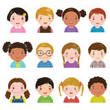 Set of different avatars of boys and girls stock illustration