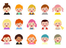Set of different avatars of boys and girls on a white background Stock Images