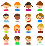 Set of different avatars of boys and girls on a white background Royalty Free Stock Photo