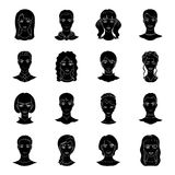 Set of different avatars girls and men. Avatar and face icon in set collection on black style vector symbol stock Royalty Free Stock Image