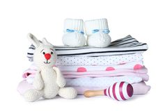 Set of different baby accessories and toys. On white background stock images