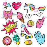 Set of different badges. Fashion patches, stickers, pins and signs with heart, hand, unicorn, speech bubbles in 80s 90s style isolated on white background stock illustration