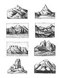 Set of 8 different badges with mountains, engraved, hand drawn or sketch style include logos for camping, hiking stock illustration