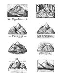 Set of 8 different badges with mountains, engraved, hand drawn or sketch style include logos for camping, hiking Royalty Free Stock Images