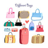 Set of different bags Royalty Free Stock Images