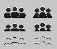Set of different balck and white icons of men and women. Stock Photo