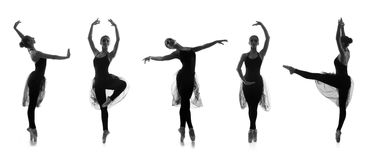 Set of different ballet poses. Black and white traces isolated o Stock Photos