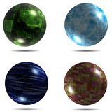 Set of different balls with mapped texture and shadow. Set Royalty Free Stock Photos