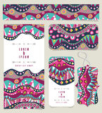 Set Of Different Banners With Aboriginal Pattern Vintage Colors Stock Photo