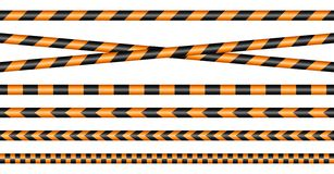 Set Of Different Barrier Tapes Black And Orange stock illustration