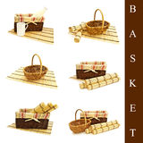 Set of different basket Stock Photo