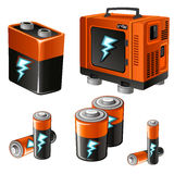Set of different batteries and accumulators. Five items on a white background Stock Images