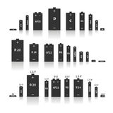 Set of different batteries, vector illustration Royalty Free Stock Photography