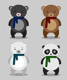 Set of different bears in flat Royalty Free Stock Photography