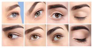 Set with different beautiful women, focus on eyes. Professional makeup artist royalty free stock photography