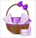 Set of different beauty products in a wicker basket. Stock Photography