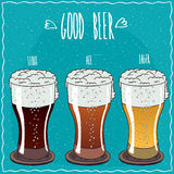 Set of different beer in handmade cartoon style Royalty Free Stock Photography