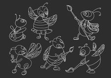 Set with different bees on black background. Sketch drawing royalty free illustration