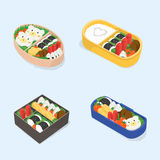 Set of different bento. Japanese lunch boxes collection. Funny cartoon food. Isometric colorful vector illustration. Set of different bento. Japanese lunch Stock Photo