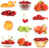 Set of different berries. Isolated on the white background Stock Photos