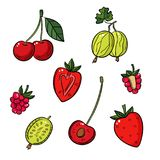 A set of different berries on a white background. Gooseberries, cherries, strawberries, raspberries stock illustration