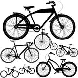 Set of different bicycles, bikes. Set of different types of bicycles, bikes in black stock illustration
