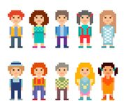 Set of different 8-bit characters isolated on white background. Colorful set of pixel art style characters. Men and women standing on white background. Vector Stock Illustration