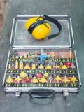 A set of different bits for drilling or drilling holes stock image