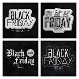 Set Different Black Friday Stickers Isolated Stock Image